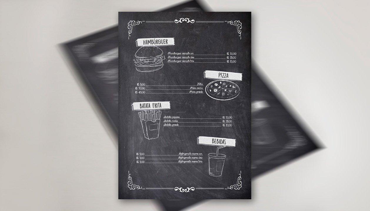 Cardápio Chalkboard Photoshop Verso